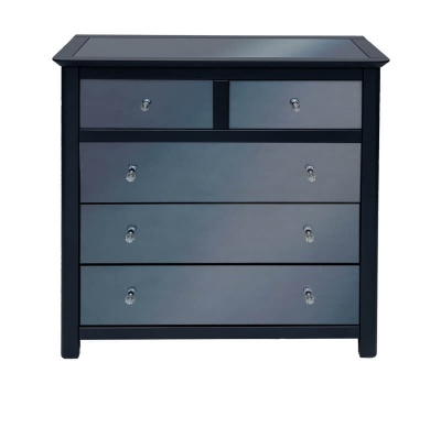 Ayr Carbon Painted Mirrored Glass 2 + 3 Drawer Chest